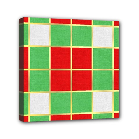 Christmas Fabric Textile Red Green Mini Canvas 6  X 6  by Jojostore