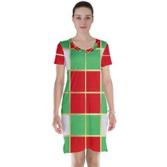 Christmas Fabric Textile Red Green Short Sleeve Nightdress by Jojostore