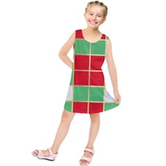 Christmas Fabric Textile Red Green Kids  Tunic Dress by Jojostore