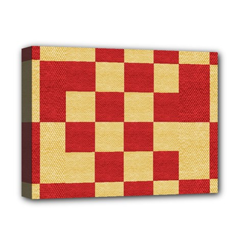 Fabric Geometric Red Gold Block Deluxe Canvas 16  X 12   by Jojostore
