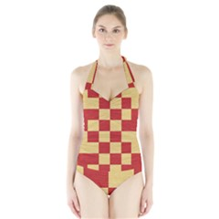 Fabric Geometric Red Gold Block Halter Swimsuit by Jojostore