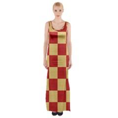 Fabric Geometric Red Gold Block Maxi Thigh Split Dress by Jojostore