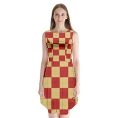 Fabric Geometric Red Gold Block Sleeveless Chiffon Dress   by Jojostore