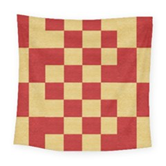 Fabric Geometric Red Gold Block Square Tapestry (large) by Jojostore