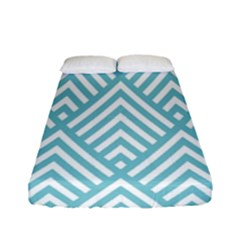 Geometric Blue Fitted Sheet (full/ Double Size) by Jojostore