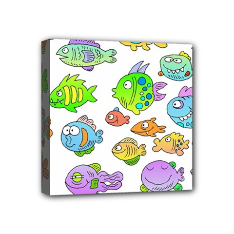 Fishes Col Fishing Fish Mini Canvas 4  X 4  by Jojostore