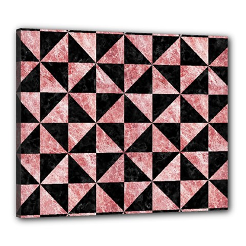 Triangle1 Black Marble & Red & White Marble Canvas 24  X 20  (stretched) by trendistuff