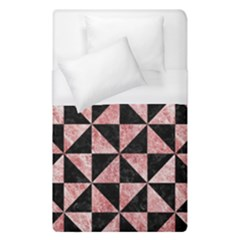 Triangle1 Black Marble & Red & White Marble Duvet Cover (single Size)