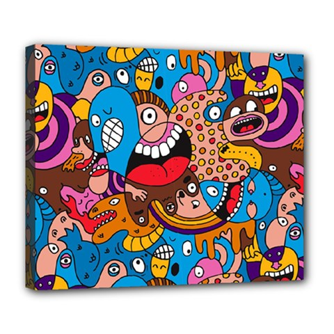 People Face Fun Cartoons Deluxe Canvas 24  X 20   by Jojostore