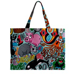 Alphabet Patterns Zipper Mini Tote Bag by Jojostore