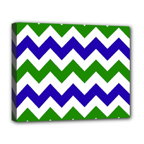 Blue And Green Chevron Deluxe Canvas 20  X 16   by Jojostore