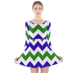Blue And Green Chevron Long Sleeve Velvet Skater Dress by Jojostore