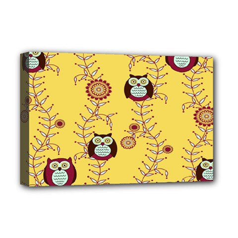 Cheery Owls Yellow Deluxe Canvas 18  X 12
