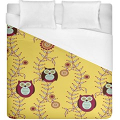 Cheery Owls Yellow Duvet Cover (king Size) by Jojostore