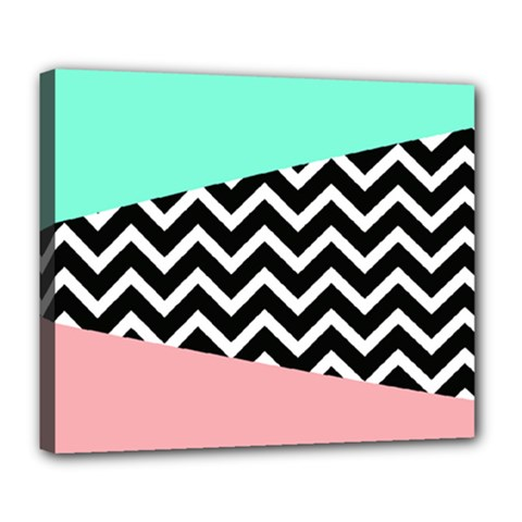 Chevron Green Black Pink Deluxe Canvas 24  X 20   by Jojostore