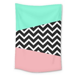 Chevron Green Black Pink Large Tapestry