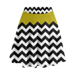 Colorblock Chevron Pattern Mustard High Waist Skirt by Jojostore