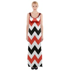 Colored Chevron Printable Maxi Thigh Split Dress by Jojostore