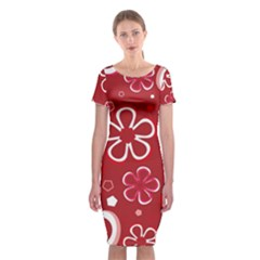 Flower Red Cute Classic Short Sleeve Midi Dress by Jojostore