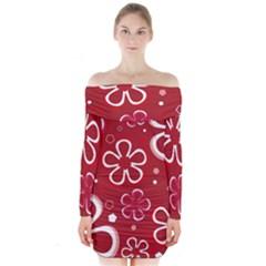 Flower Red Cute Long Sleeve Off Shoulder Dress by Jojostore