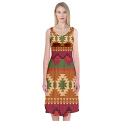 Background Plot Fashion Midi Sleeveless Dress by Jojostore