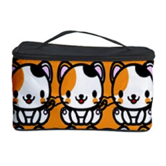 Face Cat Yellow Cute Cosmetic Storage Case by Jojostore