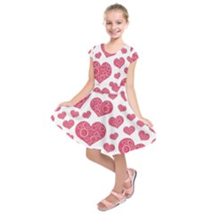 Heart Love Pink Back Kids  Short Sleeve Dress