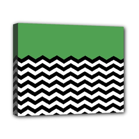 Lime Green Chevron Canvas 10  X 8  by Jojostore