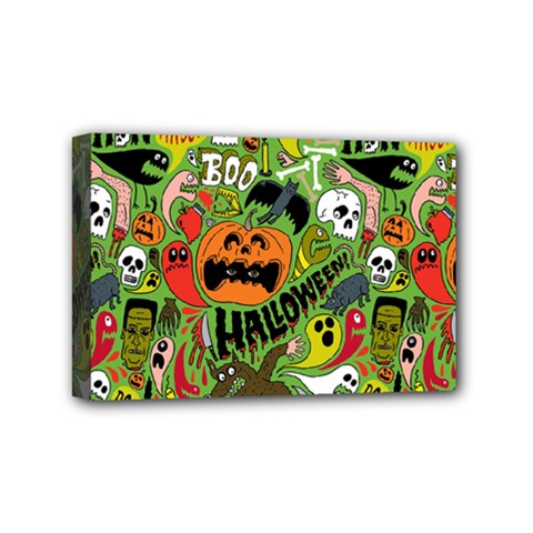 Halloween Pattern Mini Canvas 6  X 4  by Jojostore