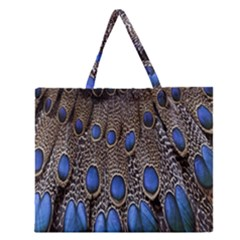 Feathers Peacock Light Zipper Large Tote Bag by Jojostore