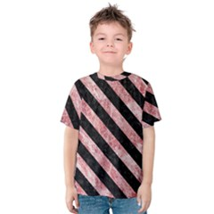 Stripes3 Black Marble & Red & White Marble (r) Kids  Cotton Tee