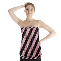 Stripes3 Black Marble & Red & White Marble Strapless Top by trendistuff