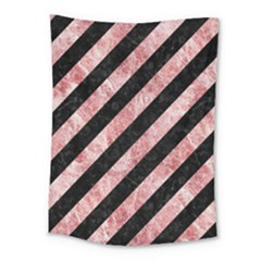 Stripes3 Black Marble & Red & White Marble Medium Tapestry