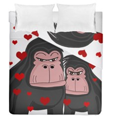 Gorillas Love Duvet Cover Double Side (queen Size) by Valentinaart