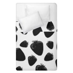 Black Strawberries Pattern Duvet Cover Double Side (single Size) by Valentinaart