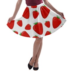 Decorative Strawberries Pattern A Line Skater Skirt by Valentinaart