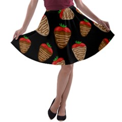 Chocolate Strawberries Pattern A Line Skater Skirt by Valentinaart