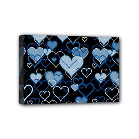 Blue Harts Pattern Mini Canvas 6  X 4  by Valentinaart