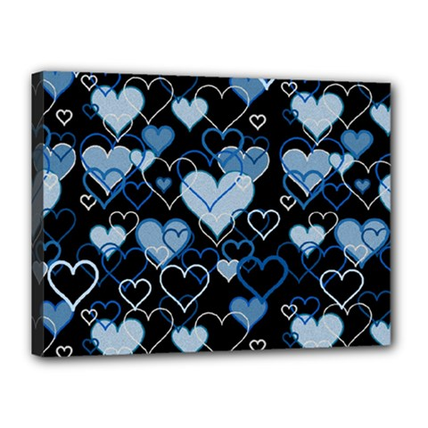 Blue Harts Pattern Canvas 16  X 12  by Valentinaart