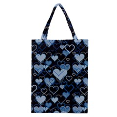 Blue Harts Pattern Classic Tote Bag by Valentinaart