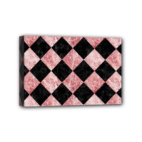 Square2 Black Marble & Red & White Marble Mini Canvas 6  X 4  (stretched) by trendistuff