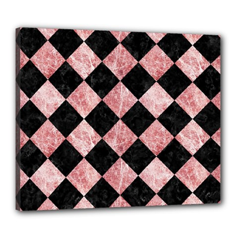 Square2 Black Marble & Red & White Marble Canvas 24  X 20  (stretched) by trendistuff