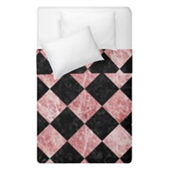 Square2 Black Marble & Red & White Marble Duvet Cover Double Side (single Size) by trendistuff