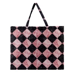 Square2 Black Marble & Red & White Marble Zipper Large Tote Bag by trendistuff