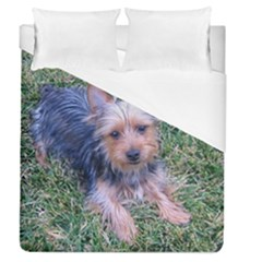 Puppy Australian Silky Terrier Laying Duvet Cover (Queen Size) by TailWags
