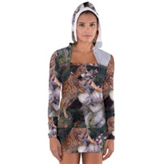 Bengal On Statue Women s Long Sleeve Hooded T Shirt by TailWags