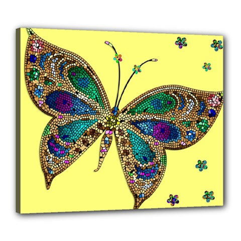 Butterfly Mosaic Yellow Colorful Canvas 24  X 20  by Amaryn4rt