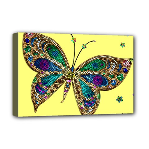 Butterfly Mosaic Yellow Colorful Deluxe Canvas 18  X 12   by Amaryn4rt
