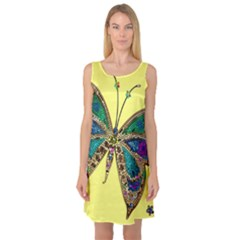 Butterfly Mosaic Yellow Colorful Sleeveless Satin Nightdress by Amaryn4rt