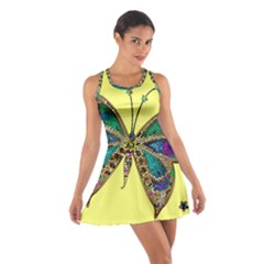Butterfly Mosaic Yellow Colorful Cotton Racerback Dress